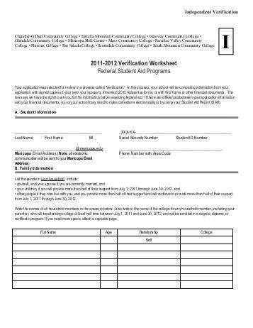 Independent Verification Worksheet Worksheet