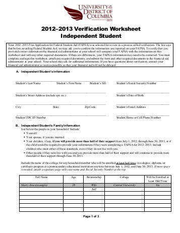 2012–2013 Verification Worksheet Independent Student