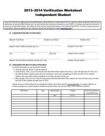Independent Verification Worksheet Tri County Technical College