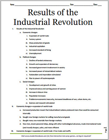 Results of the Industrial Revolution Free printable outline for high school World History students