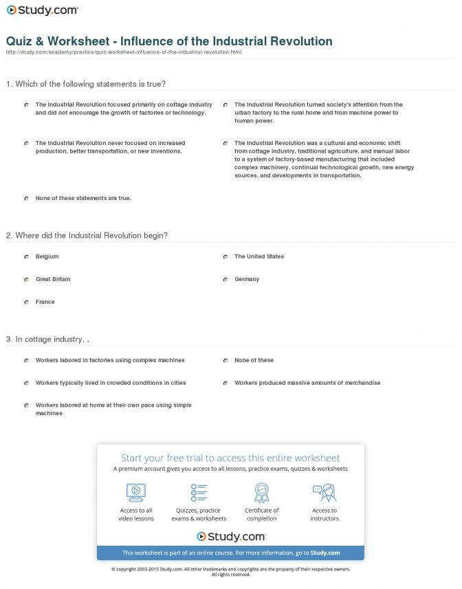 Quiz Worksheet Influence The Industrial Revolution Study Lesson Plans Middle S Industrial Revolution Lesson
