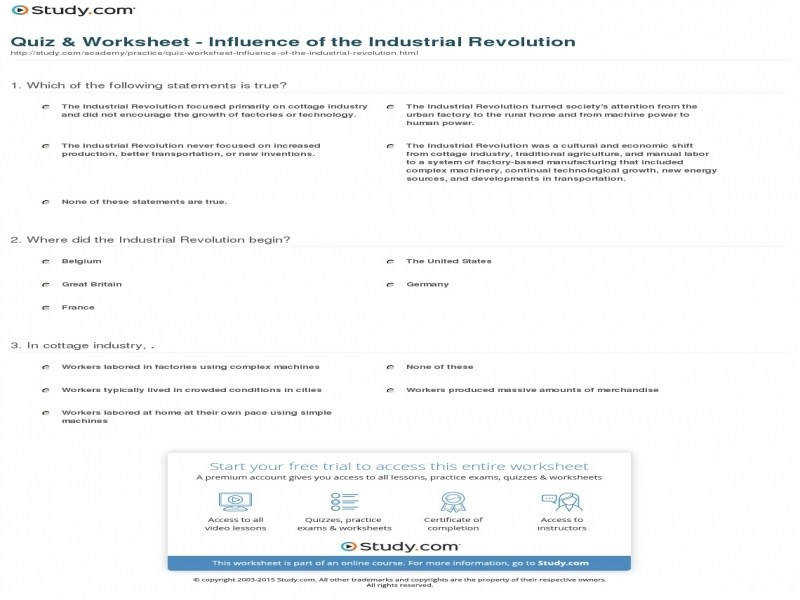 Quiz & Worksheet Influence The Industrial Revolution
