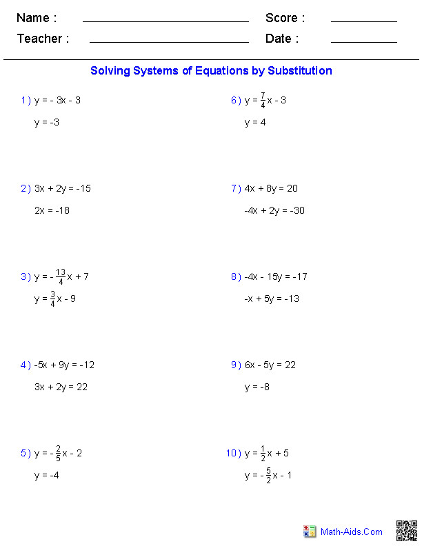 Solving Two Variable Systems of Equations Worksheets