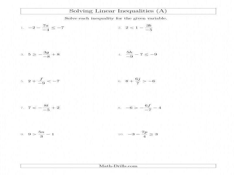 Solving Linear Inequalities Including A Third Term Multiplication