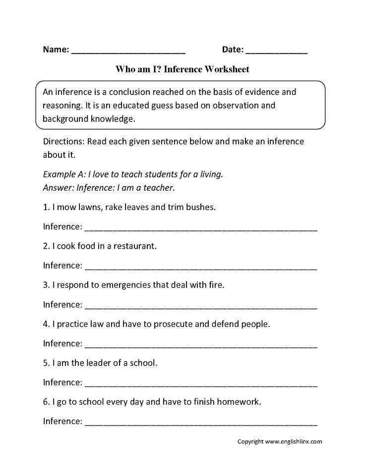Who am I Inference Worksheets