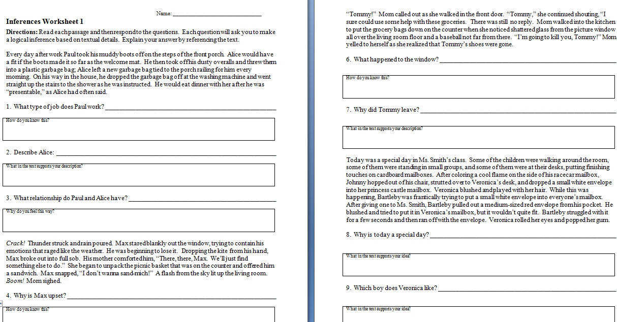 Inferences worksheet the check student centered resources and worksheet
