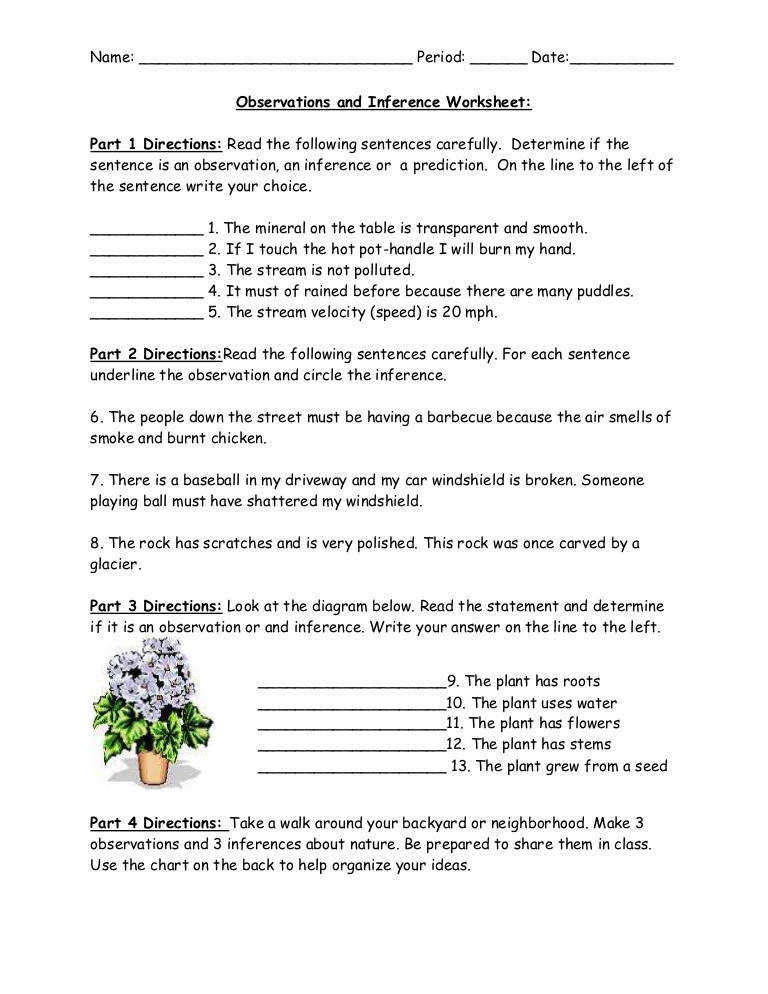 Worksheet observation inference hypothesis · Copy The Scientific Method Lessons Tes Teach