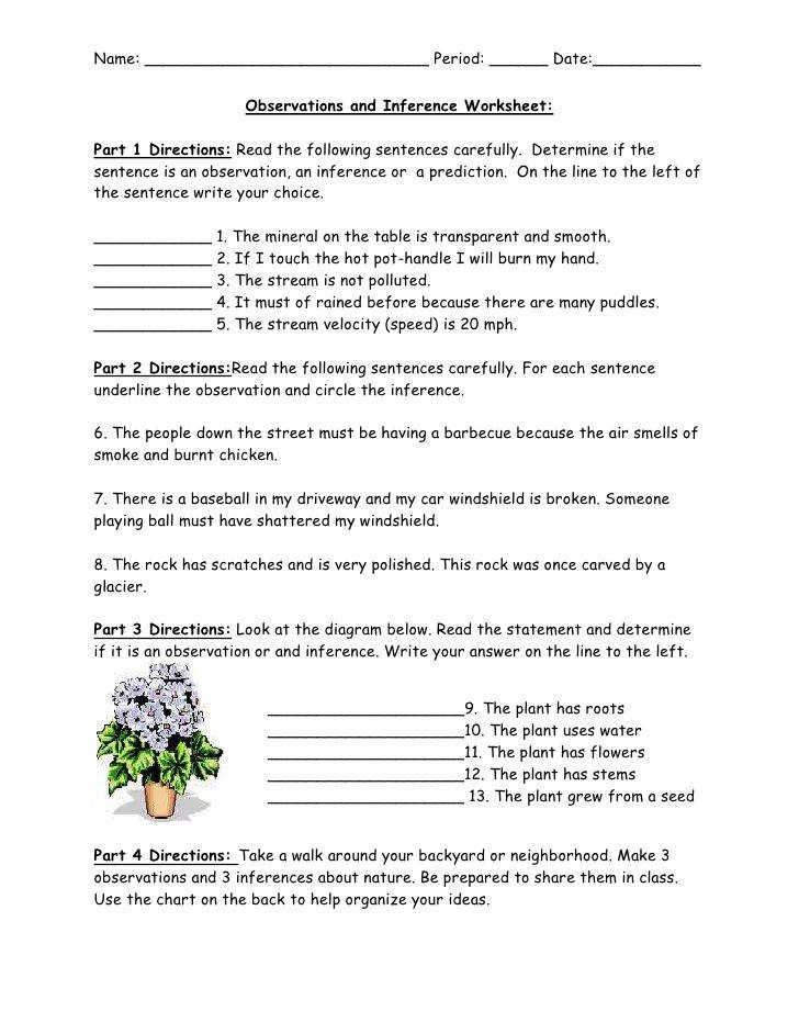 Observations and Inference Worksheet br Part 1 Directions Read the following