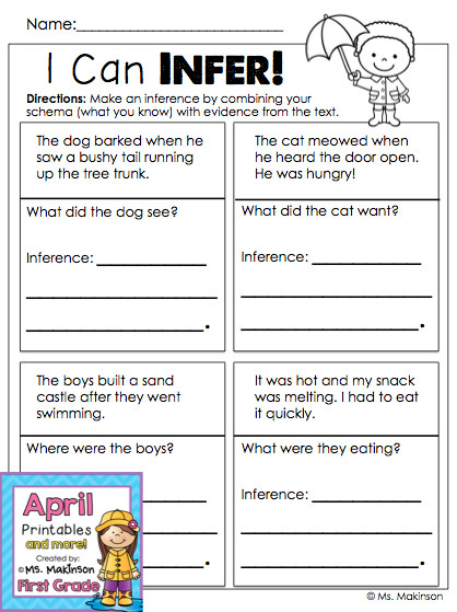 April Printables First Grade Literacy and Math