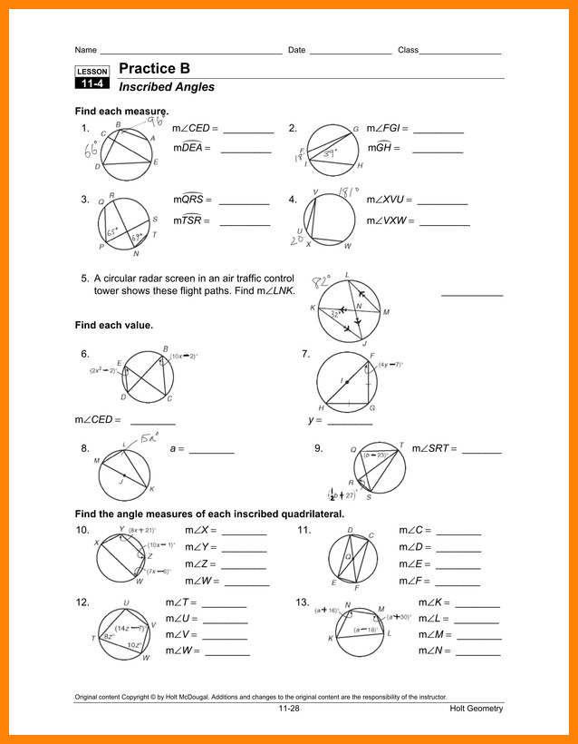inscribed angle worksheet orig