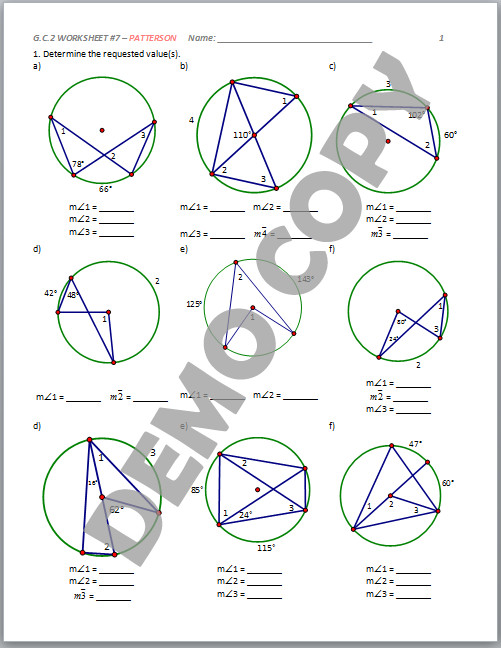 High School Geometry mon Core G C A 2 Circle Properties Patterson