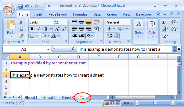 Now when you return to your spreadsheet a new sheet should be inserted and you will be positioned on cell A1 within this new sheet