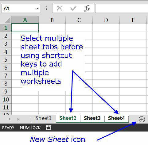 Insert Multiple Worksheets with Shortcut Keys in Excel