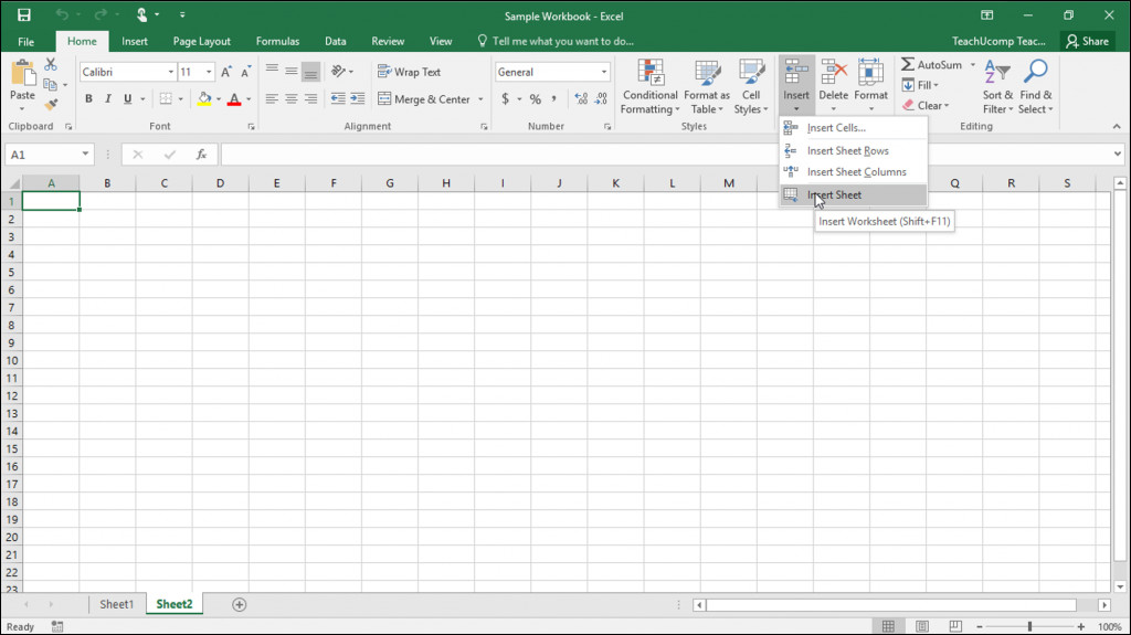 Inserting and Deleting Worksheets in Excel Tutorial A picture of a user inserting a