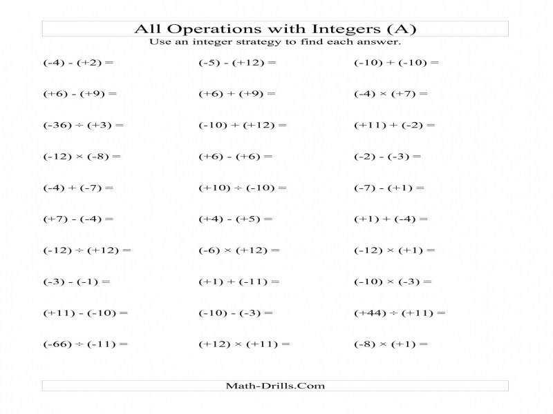 All Operations With Integers Range 12 To 12 With All Integers