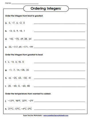 Ordering Integers Worksheet