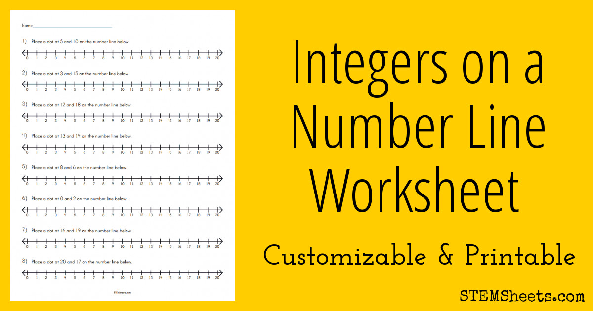 number line integers worksheet