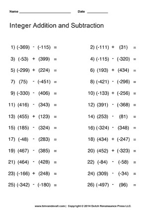Free Math Worksheet Subtracting Integers Range 9 to 9 H