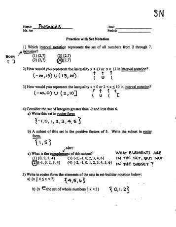 Set Notation Practice Worksheet SN Answers pdf