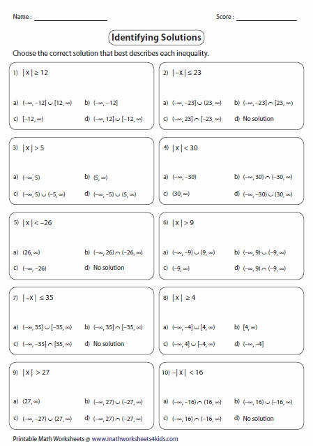 Fresh Absolute Value Inequalities Worksheets