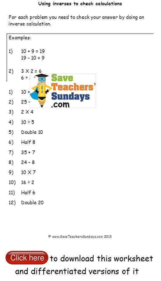 Format Math Inverse Operations Worksheets Educational Math Activities Rated Inverse Operations Checking Calculations Worksheets Math
