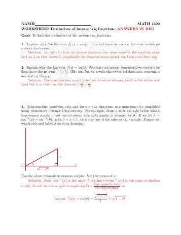Derivative of inverse trig functions worksheet