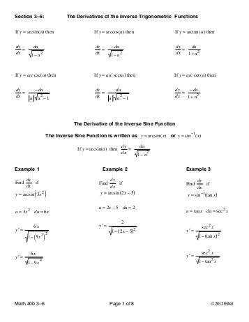 Derivatives of the Inverse Trigonometric Functions