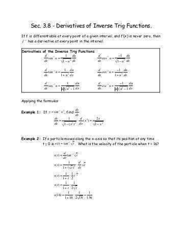 3 8 Derivatives of Inverse Trig Functions