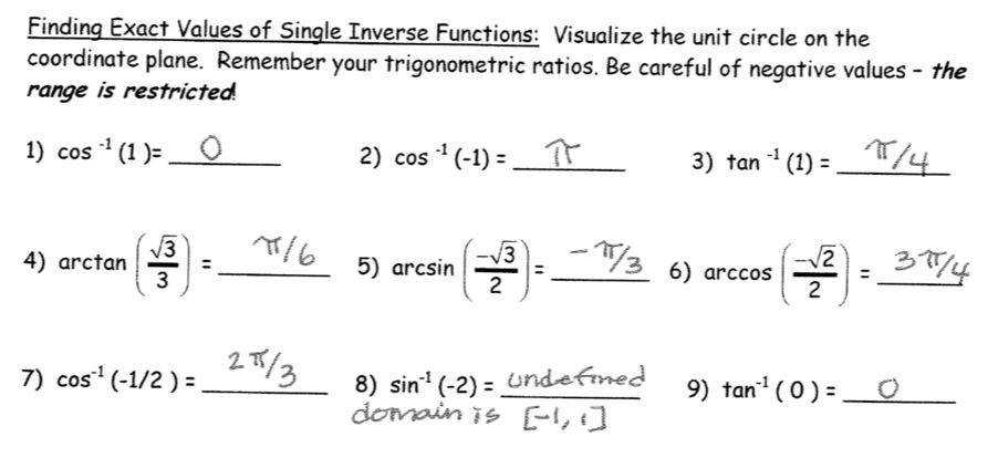 inverse trig functions worksheet. Black Bedroom Furniture Sets. Home Design Ideas