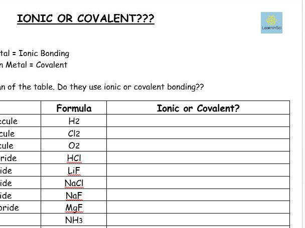 Ionic or Covalent worksheet GCSE Chemistry bined Science by lindseycowen Teaching Resources Tes