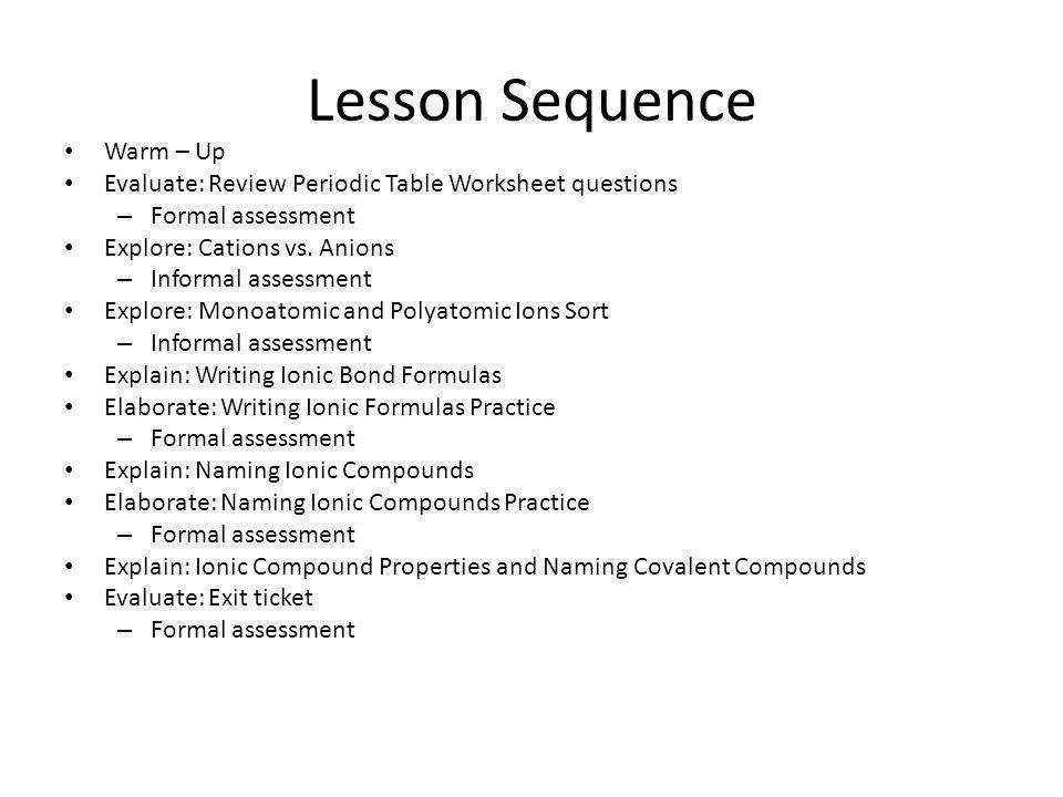 Lesson Sequence Warm – Up Evaluate Review Periodic Table Worksheet questions – Formal assessment Explore