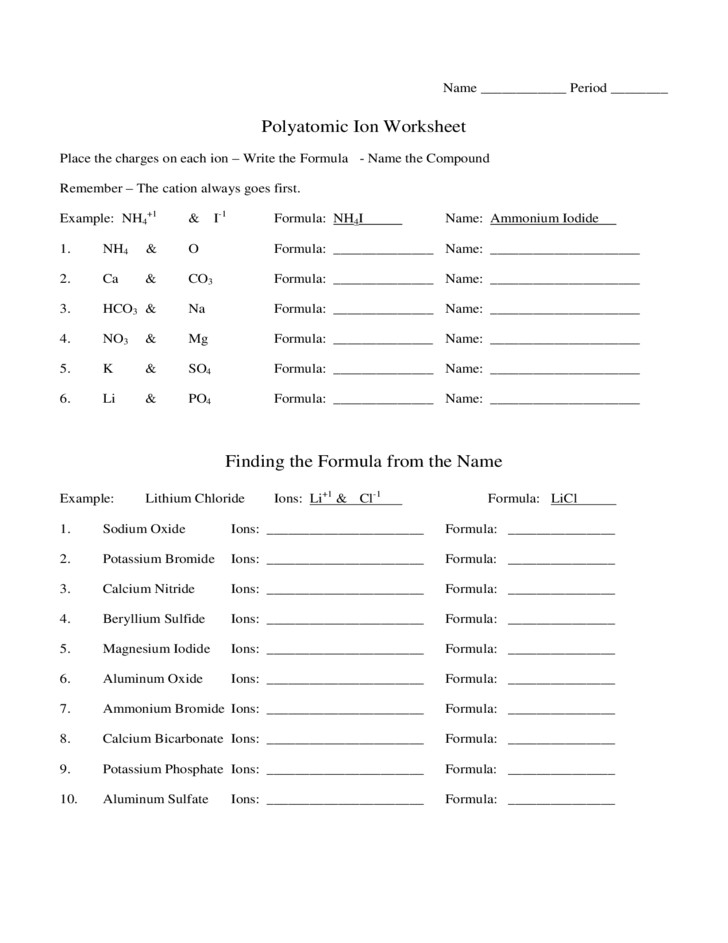 Polyatomic Ion Worksheet Rringband