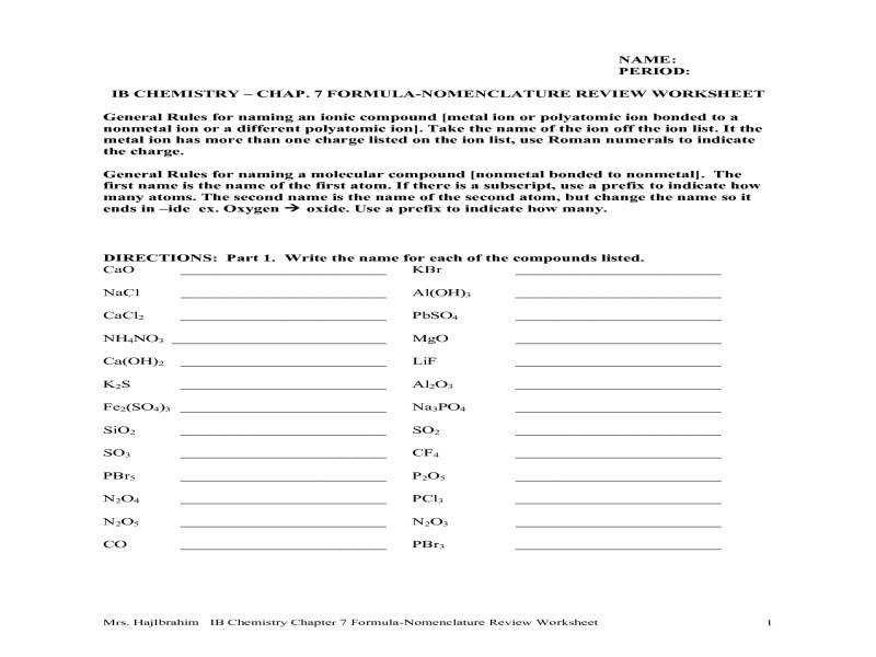 Polyatomic Ion Worksheet Worksheets