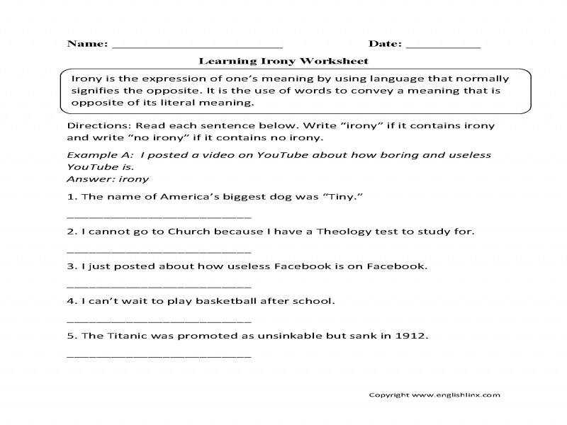Irony Worksheet Homeschooldressage Com