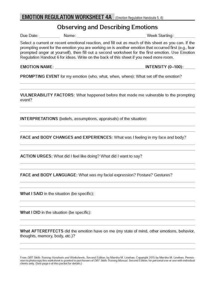 DBT Self Help Resources Observing and Describing Emotions These worksheets ac pany the Emotion regulation Handout 6 Also look at Emotions List …