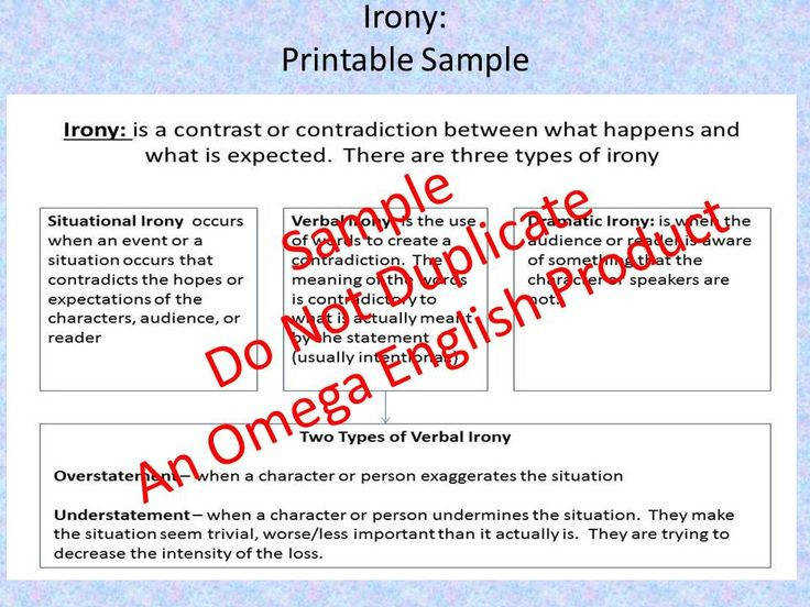 Irony Printable Worksheets and Handout
