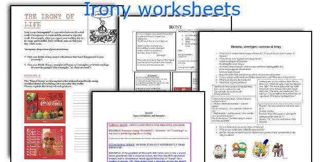 Irony worksheets