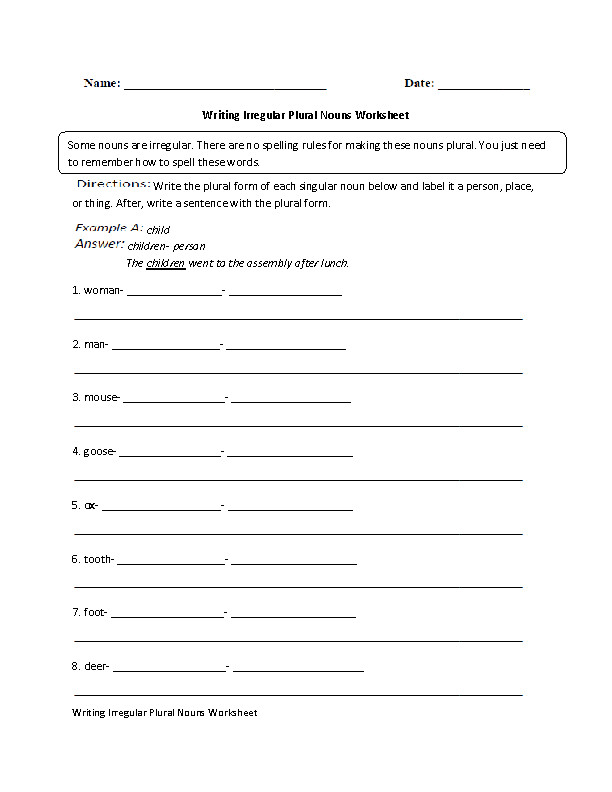 Writing Irregular Noun Worksheet