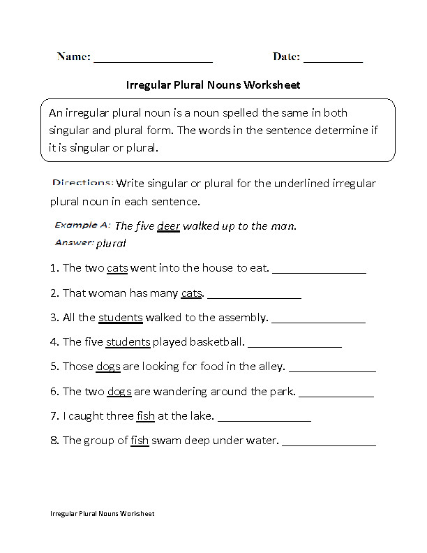 Singular and Plural Nouns Worksheets Irregular Plural Nouns Worksheet