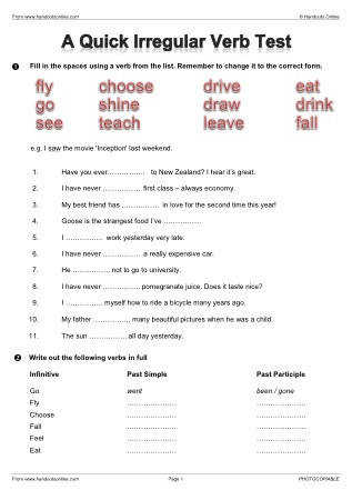 Past Tense Worksheets Continued
