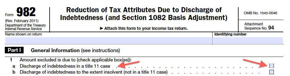 IRS Form 982 Top