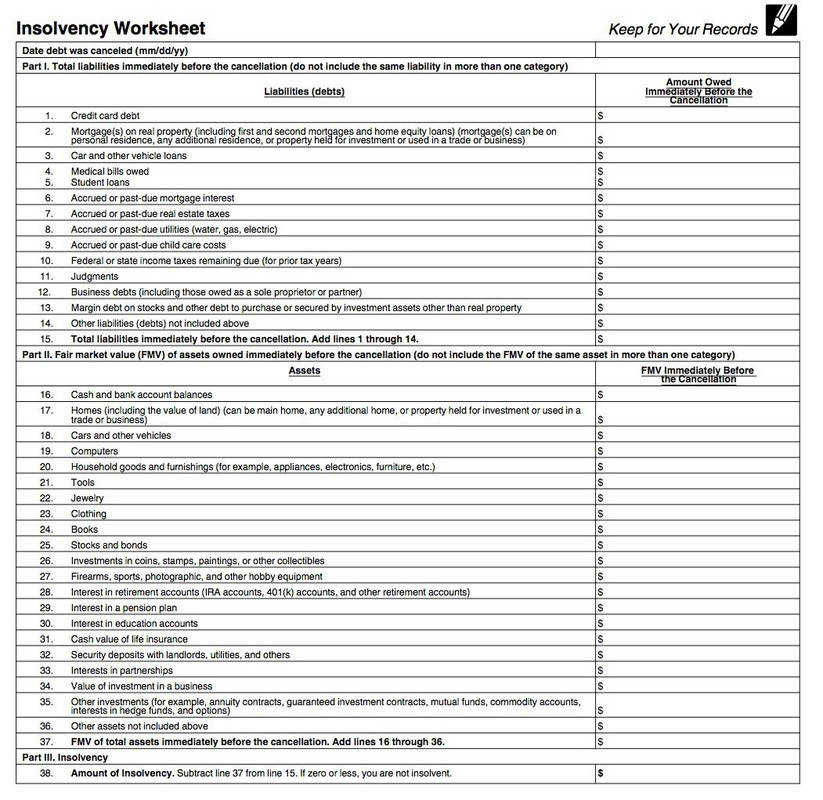 Insolvency Worksheet How to Make Debts Tax ExemptPDFfiller