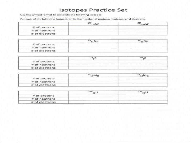 Collection Isotopes Worksheet – Cockpito