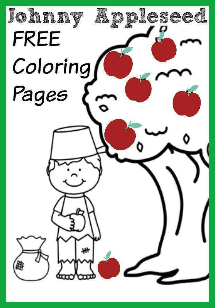 Johnny Appleseed Apple Themed Coloring Pages