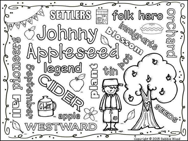 Johnny Appleseed Vocabulary WORD ART FREEBIE
