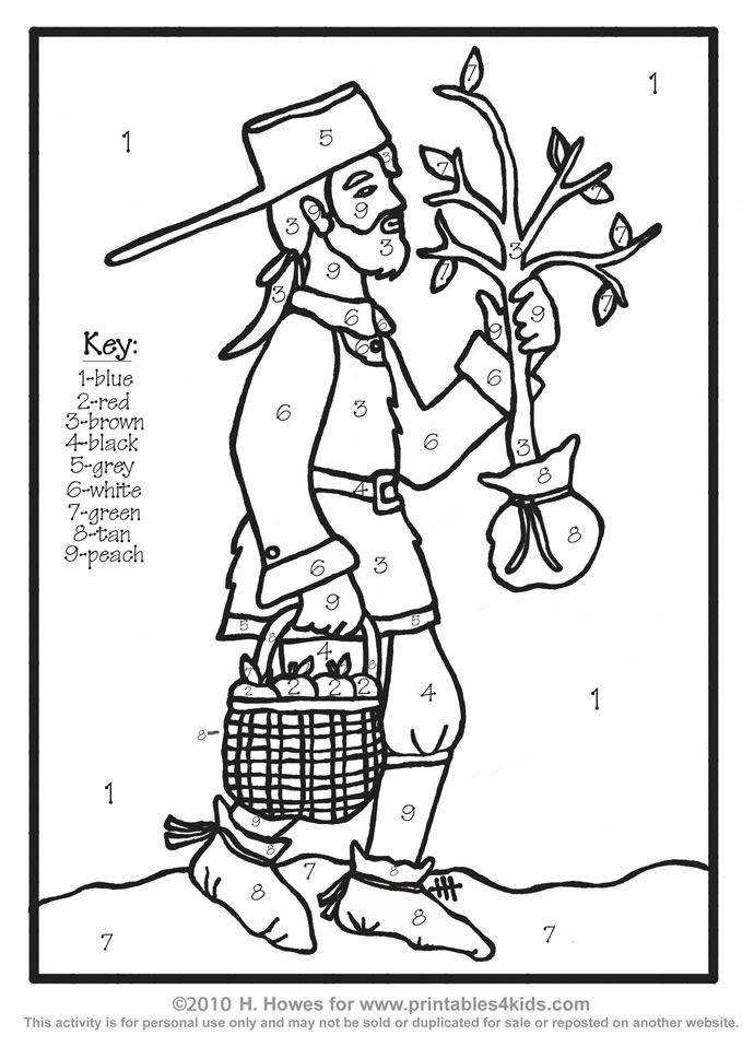 Johnny Appleseed John Chapman Color by Number Printables for Kids – free word search puzzles