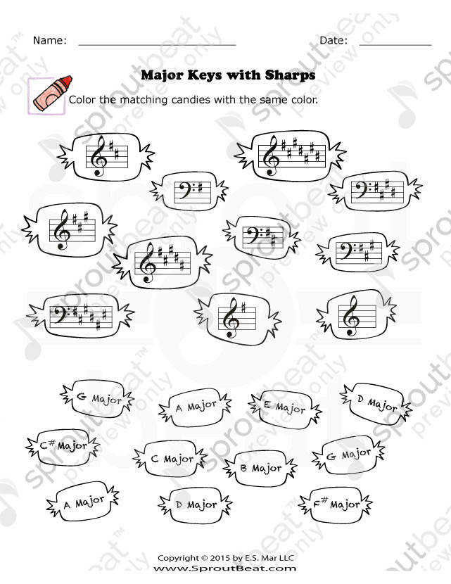 Easy Worksheet To Review Key Signatures With Sharps T