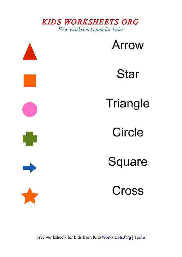 Kids Match the Shapes and Names Worksheet 1