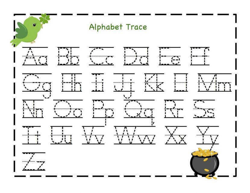 Free Printable Alphabet Letter Tracing Worksheets Kindergarten For 6f2ea e e100ea67b2