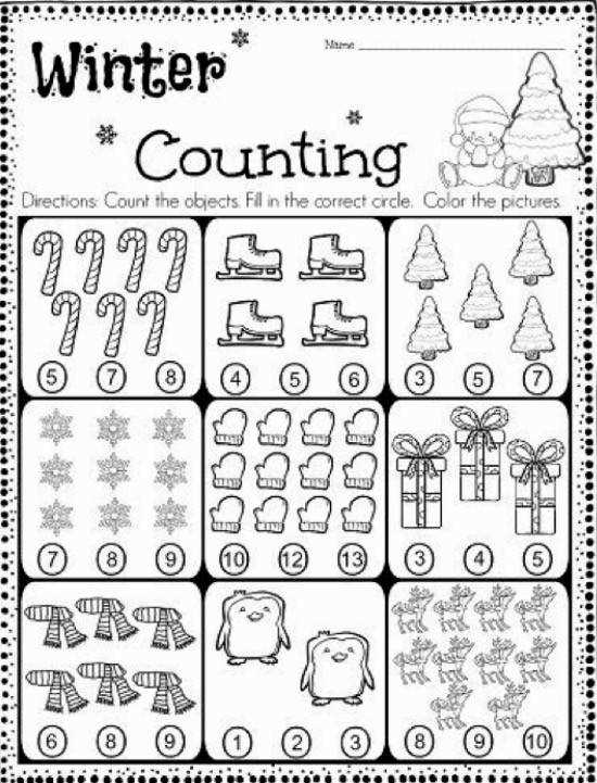 FREE Kindergarten Counting Worksheet Count the objects and fill in the correct circle So Cute